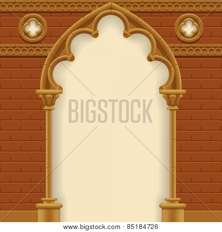 Stone gothic arch and wall. Antique architecture frame.
