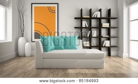 Modern interior with couch 3D rendering