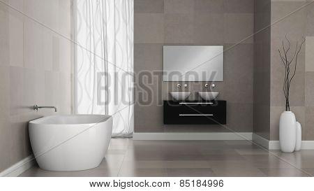 Interior of modern bathroom with granite tile walls 3D rendering
