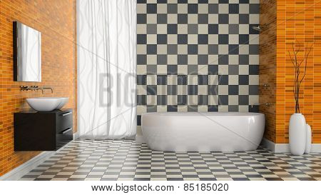 Interior of modern bathroom with black and white tiles  wall 3D rendering