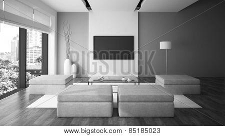 Modern interior in minimalism style black and white color 3D rendering