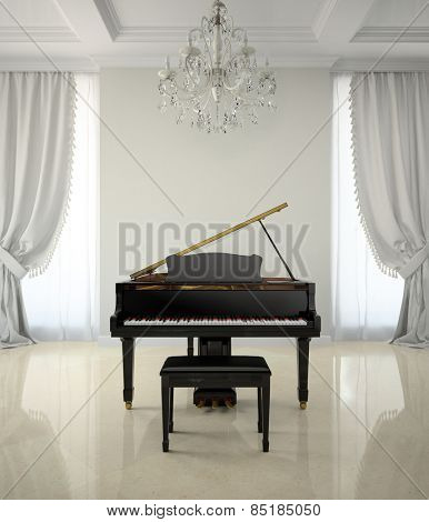 Room in classic style with piano and chandelier 3D rendering