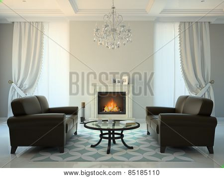 Classic style room with fireplace and sofas 3D rendering