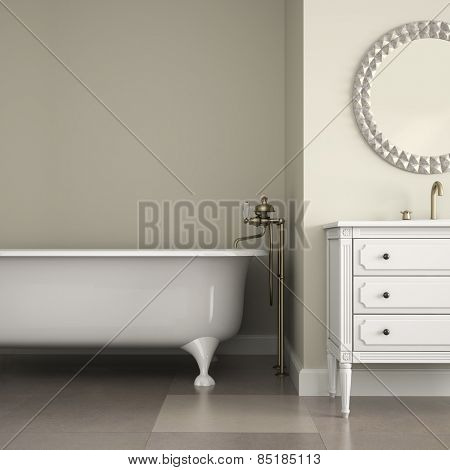 Interior of classic bathroom with round mirror and cabinet 3D rendering