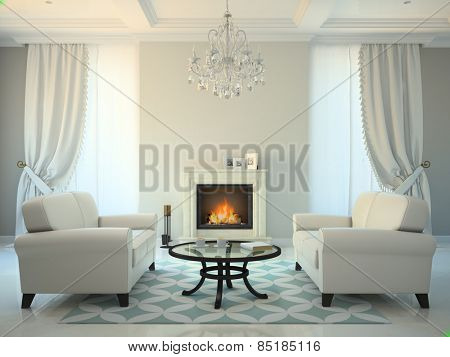 Classic style room with fireplace and white sofas 3D rendering