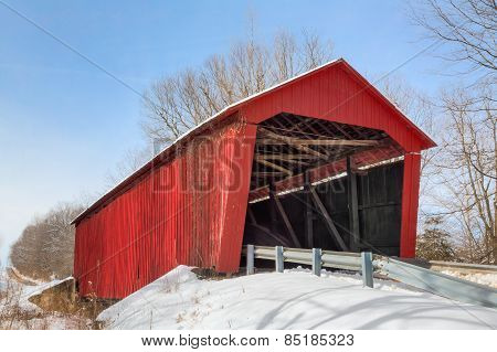 Edna Collings Covered Bridge With Snow