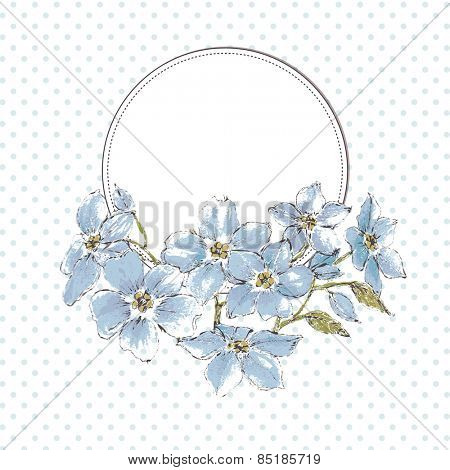 Floral frame, watercolor blue flowers and space for text