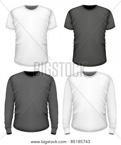 Men's t-shirt short and long sleeve. Vector illustration.