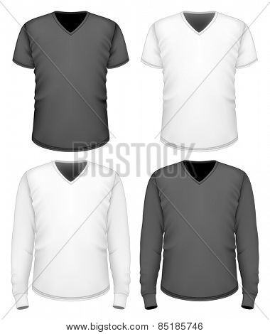 Men's t-shirt v-neck short and long sleeve. Vector illustration.