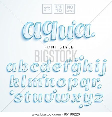 Vector latin alphabet made of clear water. Font style.