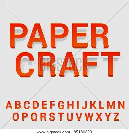 Vector latin alphabet made of cut-out paper letters