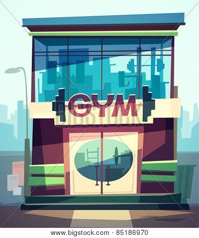 Gym facade. Vector illustration.