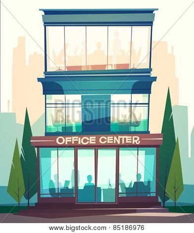 Business building facade. Vector illustration.
