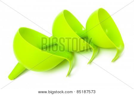 set of green funnels on a white background