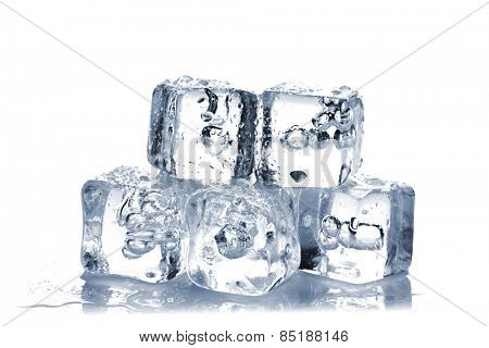 Melting ice cubes with air bubbles inside on white background