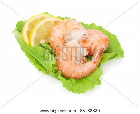 Cooked shrimps with lemon over salad leaves. Isolated on white background