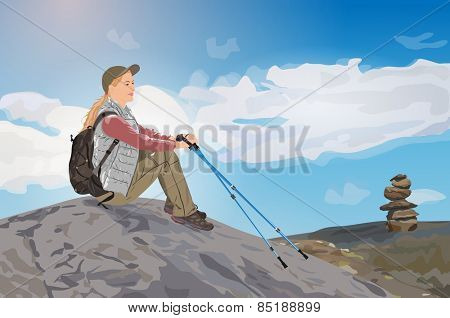Young woman tourist sitting on mountain top. EPS 10 format.