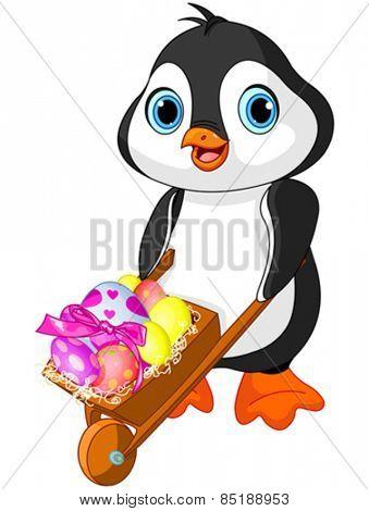 Easter Penguin with wheelbarrow full of eggs