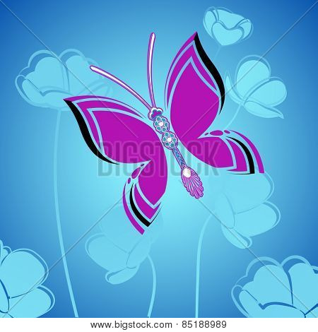 Butterfly over flower garden