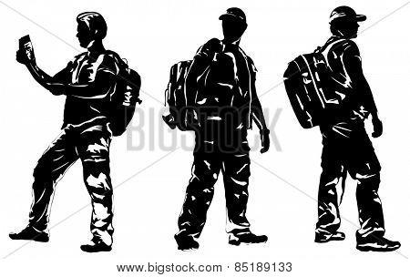 Man tourist silhouettes. EPS 10 format.