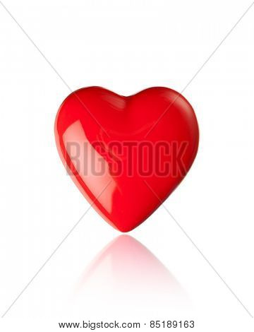 red heart glossy shape, isolated on white