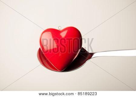 red heart shape in spoon