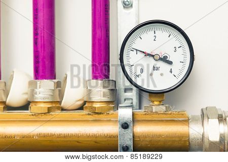 pressure gauge indicator in boiler-room