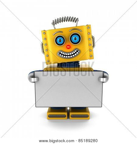 Smiling toy robot is holding up a blank sign over white background