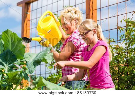 Mother and daughter working in garden watering plants with can