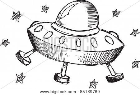 Doodle Sketch UFO Vector Illustration Art