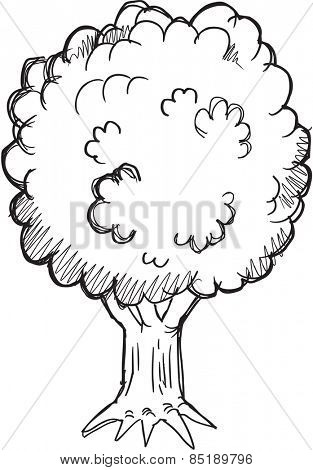 Doodle Sketch Tree Vector Illustration Art