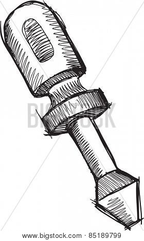 Doodle Sketch Screwdriver  Vector Illustration Art