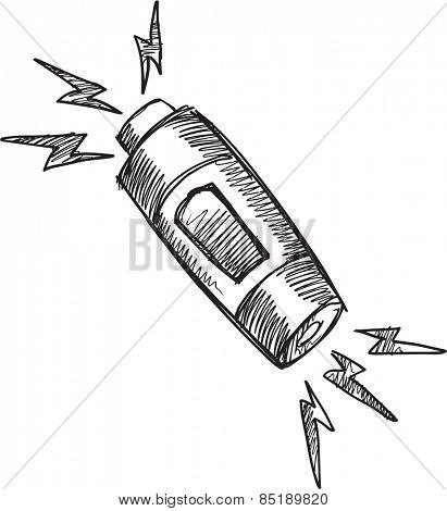 Doodle Sketch Battery Vector Illustration Art
