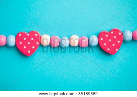 toy heart shape on blue background