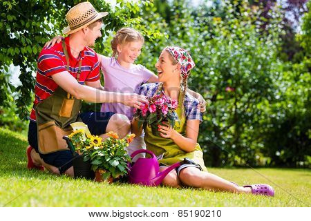Family gardening in Garden having fun
