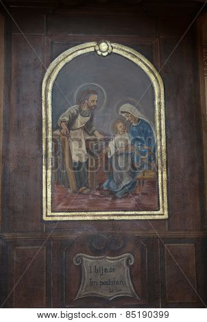 TRAVNIK, BOSNIA AND HERZEGOVINA - JUNE 11: Holy Family, the altarpiece in the church of St. Aloysius in Travnik, Bosnia and Herzegovina on June 11, 2014.