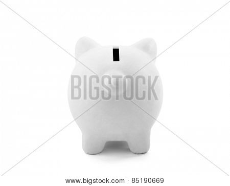 Back view of white piggy bank with clipping path