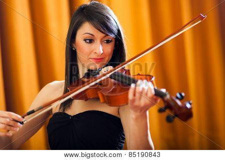 Young female violinist portrait
