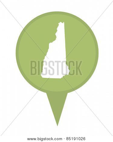 American state of New Hampshire marker pin isolated on a white background.