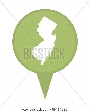 American state of New Jersey marker pin isolated on a white background.