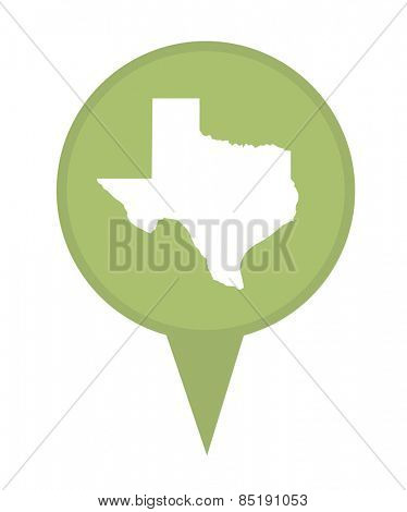 American state of Texas marker pin isolated on a white background.