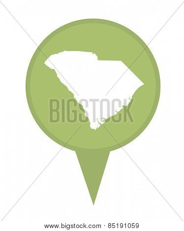 American state of South Carolina marker pin isolated on a white background.