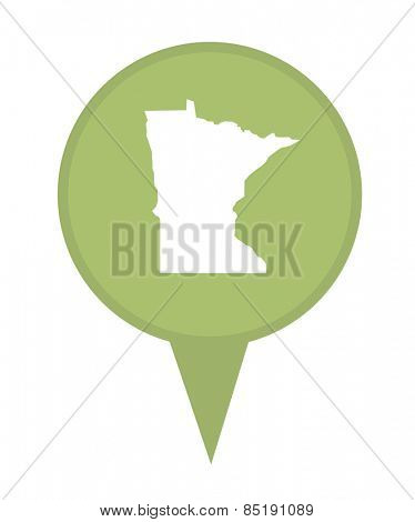 American state of Minnesota marker pin isolated on a white background.