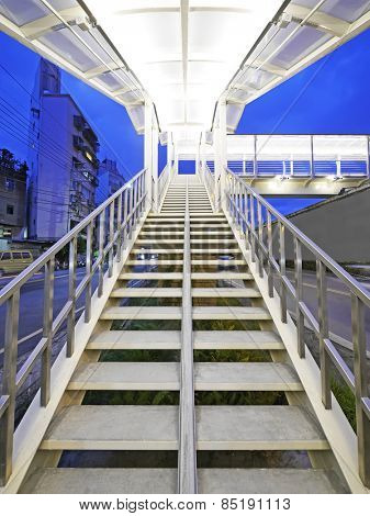 Long stair to footbridge