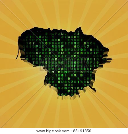 Lithuania sunburst map with hex code illustration