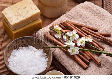 Spa setting with cherry, salt in bowl ,towel, soap with mat