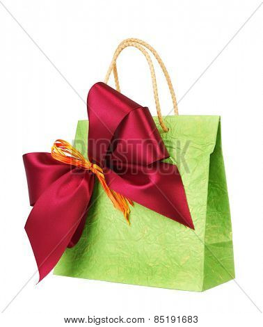 Bag for gift with bow, isolated on white background