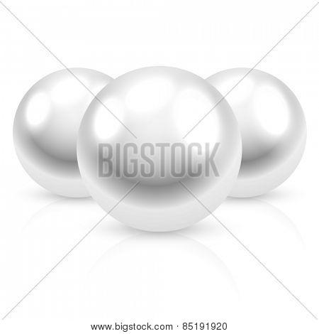 Pearl on white background. Illustration.