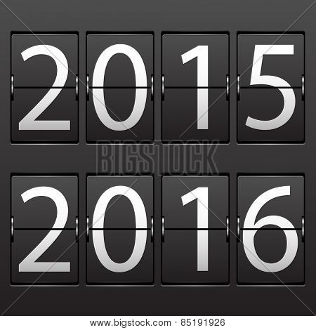 Illustration New Year date. Set of numbers on a mechanical timetable.