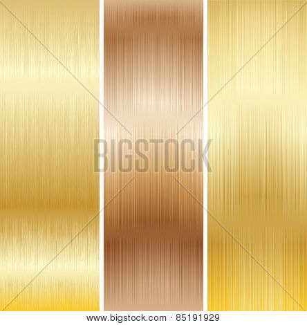 Metal Background, Copper and Gold. Set.